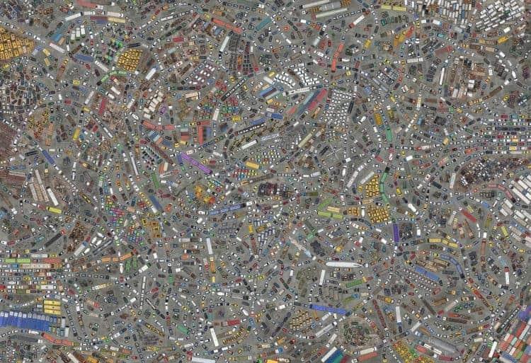 milhares de carros, caminhões, ônibus, tratores e outros veículos vistos de cima