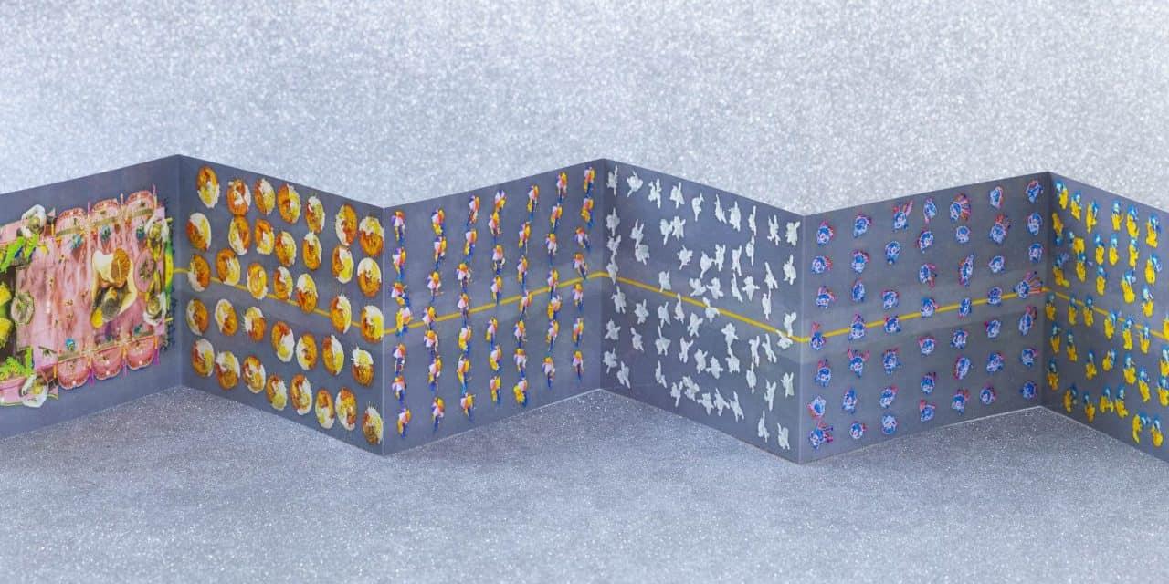 Fotolivro Abre-Alas, de Cássio Vasconcellos, visão interna mostrando o formato sanfonado